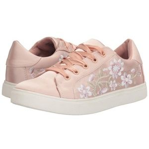 Betsey💞 Blush Satin Floral Embroidered Sneakers
